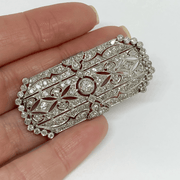 Mark Areias Jewelers Jewellery & Watches Antique Edwardian Filigree Platinum Diamond Brooch 3.70 Carat