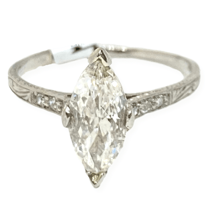 Mark Areias Jewelers Jewellery & Watches Antique Marquise 1920's Carved Solitaire Diamond Ring .85 Carat Platinum