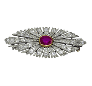 Mark Areias Jewelers Jewellery & Watches Antique Russian Burma Ruby and Diamond Brooch Pin Platinum, circa 1890