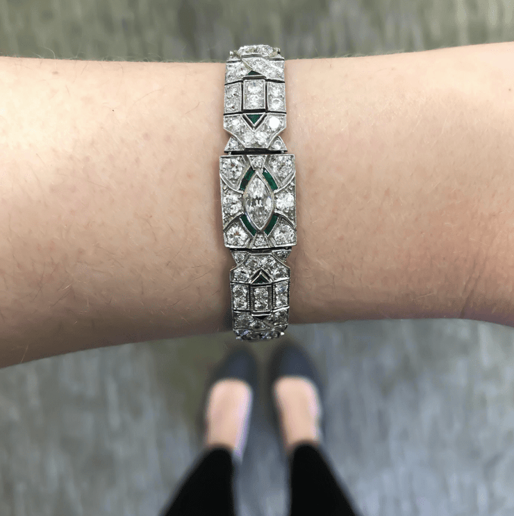 Mark Areias Jewelers Jewellery & Watches Art Deco 1920s 5 Carat Diamond and Emerald Platinum Bracelet