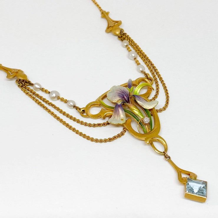 Mark Areias Jewelers Jewellery & Watches Art Nouveau Enamel Orchid Flower, Pearl, Aquamarine Necklace Circa 1900 18KY