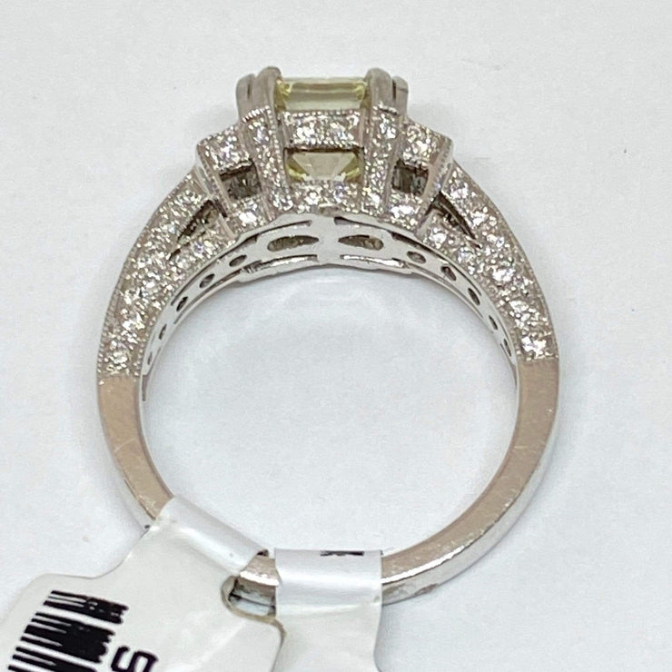 Mark Areias Jewelers Jewellery & Watches Asscher Cut Diamond Pave Engagement Wedding Ring 2.02CT J, VS1 Platinum