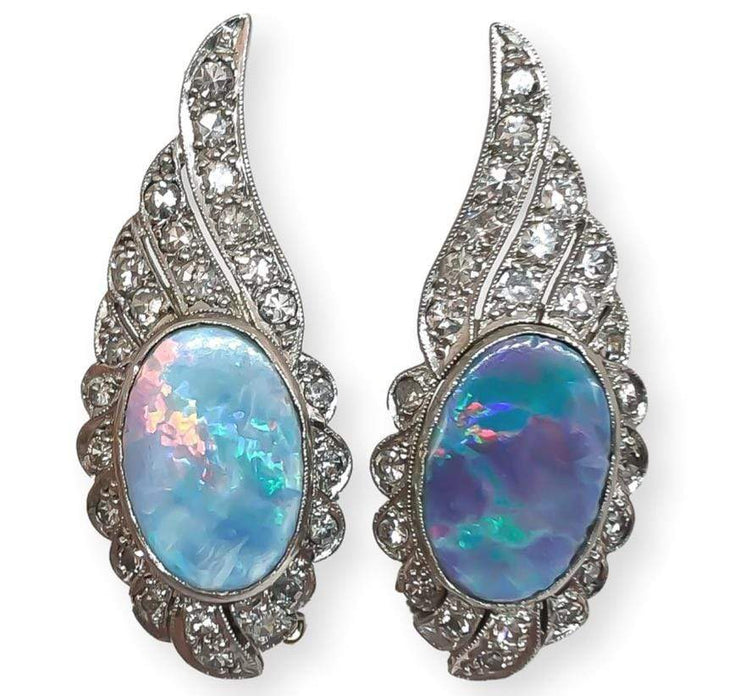 Mark Areias Jewelers Jewellery & Watches Australian Opal & Diamond Platinum Wing Clip-on Earrings .75dtw