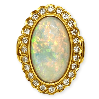 Mark Areias Jewelers Jewellery & Watches Australian Oval Cabochon Opal & Diamond 18K Yellow Gold Hand Fabricated Ring