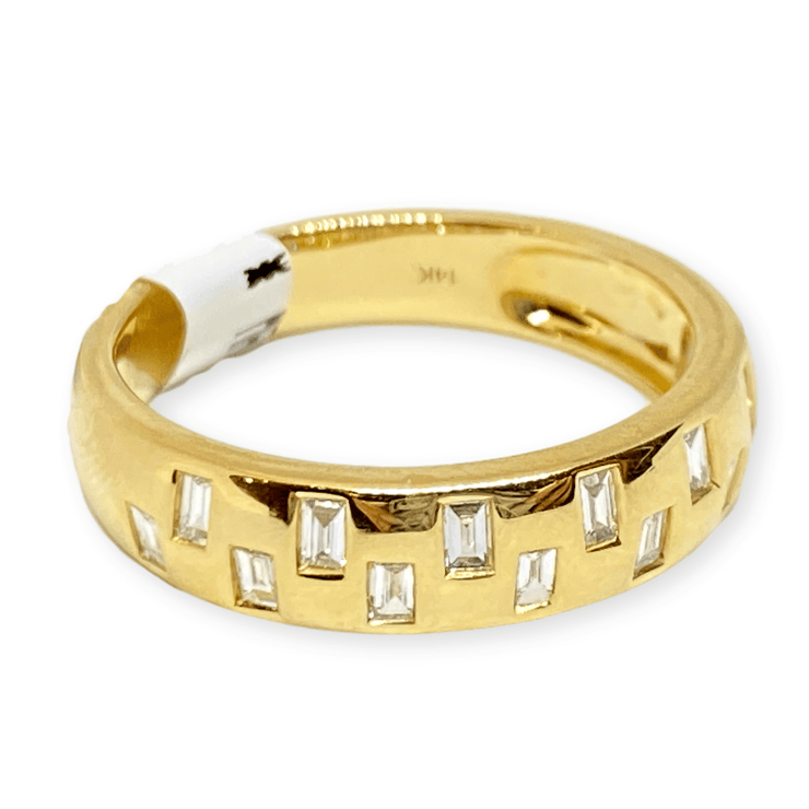Mark Areias Jewelers Jewellery & Watches Baguette Flush Set Diamond Band Ring 14K Yellow Gold .28CTW