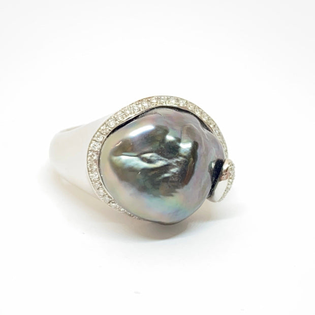 Mark Areias Jewelers Jewellery & Watches Black Grey Baroque Tahitian Pearl & Diamond 14K White Gold Ring 15mm .30ctw