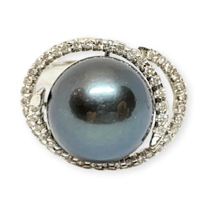 Mark Areias Jewelers Jewellery & Watches Black Grey Round Tahitian Pearl & Diamond Halo 14K White Gold Ring 11mm .52ctw