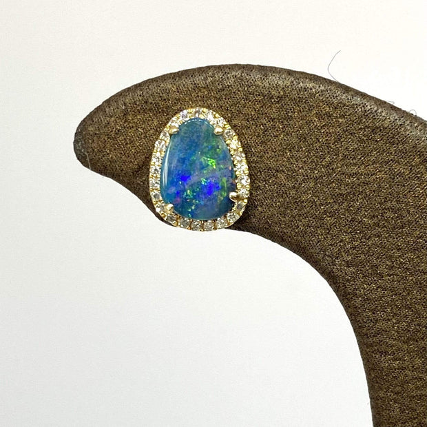 Mark Areias Jewelers Jewellery & Watches Black Opal Freeform Doublet Diamond Halo Post Earrings 14KY
