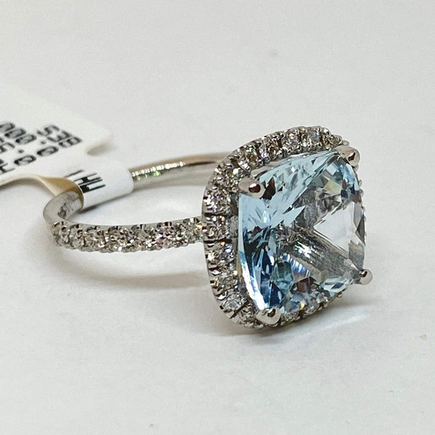Mark Areias Jewelers Jewellery & Watches Blue Cushion Aquamarine & Halo Diamond Ring 14K White Gold 3.95 Carat