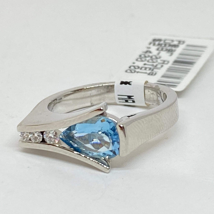 Mark Areias Jewelers Jewellery & Watches Blue Pear Aquamarine & Diamond Ring Channel Set 18K White Gold .95 Carat