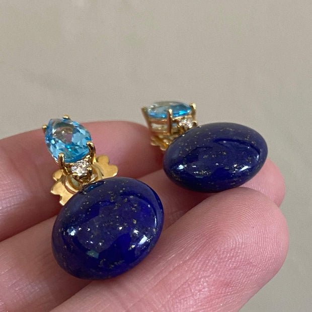 "Mark Areias Jewelers Jewellery & Watches ""Bonbon"" Earrings with Natural Blue Lapis and Blue Topaz, 18K Yellow Gold"