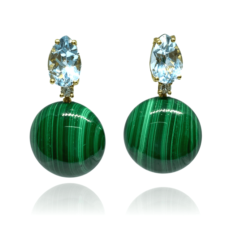 "Mark Areias Jewelers Jewellery & Watches ""Bonbon"" Earrings with Natural Green Malachite and Blue Topaz, 18K Yellow Gold"