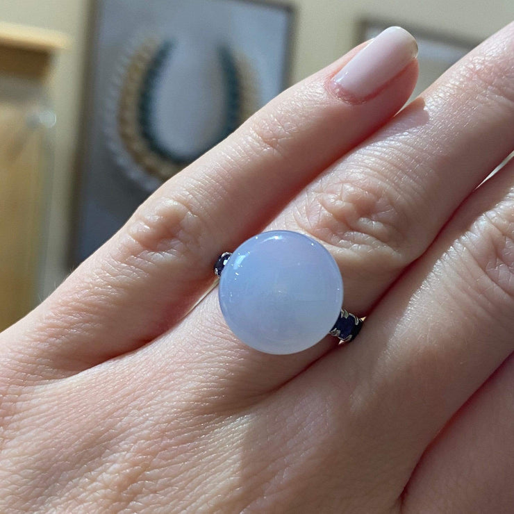 "Mark Areias Jewelers Jewellery & Watches ""Bonbon"" Ring with Natural Blue Chalcedony and Iolite, 18K White Gold"