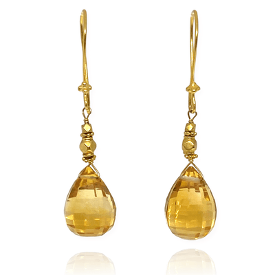 Mark Areias Jewelers Jewellery & Watches Briolette Citrine Pear Shape Bali Dangle Earrings 18K Yellow Gold