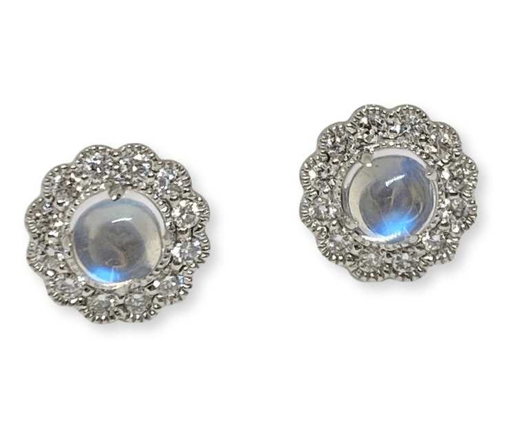Mark Areias Jewelers Jewellery & Watches Cabochon Natural Moonstone & Diamonds Pave Halo Post Earrings 14K White Gold
