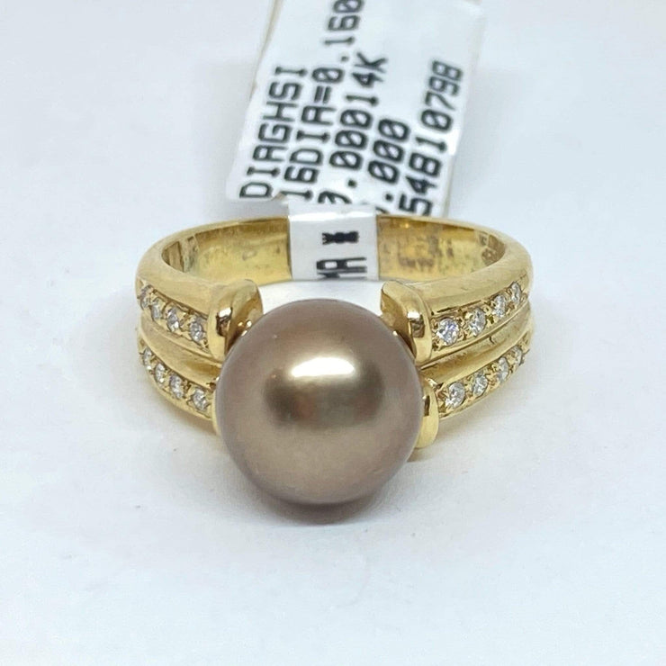 Mark Areias Jewelers Jewellery & Watches Chocolate Cognac Pearl Solitaire Ring w/Pave Diamonds 14K Yellow Gold 9.50mm