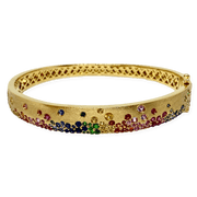 Mark Areias Jewelers Jewellery & Watches Confetti Rainbow Sapphire Bangle Bracelet 2.55CTW 14KY