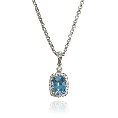 Mark Areias Jewelers Jewellery & Watches Cushion Aquamarine & Diamond Pendant 14K White Gold 2.17 Carat
