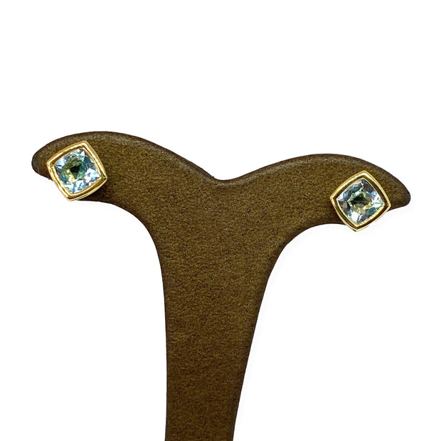 Mark Areias Jewelers Jewellery & Watches Cushion Blue Topaz Bezel Post Earrings 18K Yellow Gold 3.50 CTW