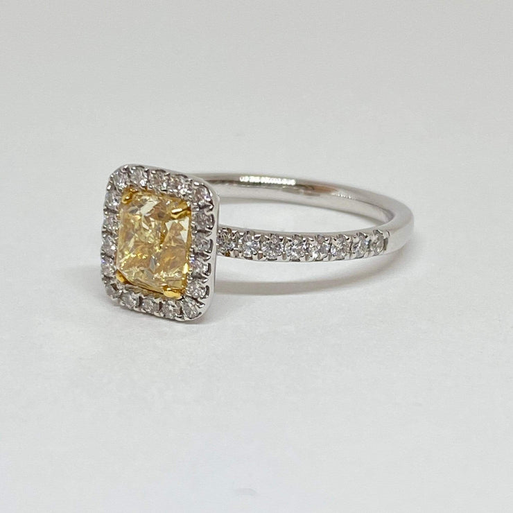 Mark Areias Jewelers Jewellery & Watches Cushion Fancy Yellow and Halo Diamond Solitaire Ring 18 Karat 1.36 CT