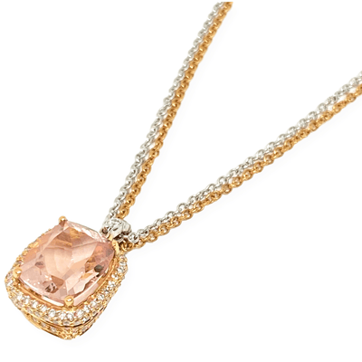 Mark Areias Jewelers Jewellery & Watches Cushion Pink Morganite & Diamond Pendant 18K Rose & White Gold 9x11mm