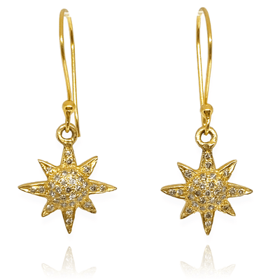 Mark Areias Jewelers Jewellery & Watches Dainty Pave Diamond Star Dangle Earrings Shepherd Hook 18K Yellow Gold