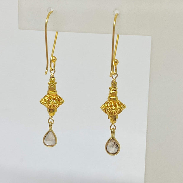 Mark Areias Jewelers Jewellery & Watches Dainty Pear Shape Champagne Diamond Bali Dangle Earrings 18K Yellow Gold