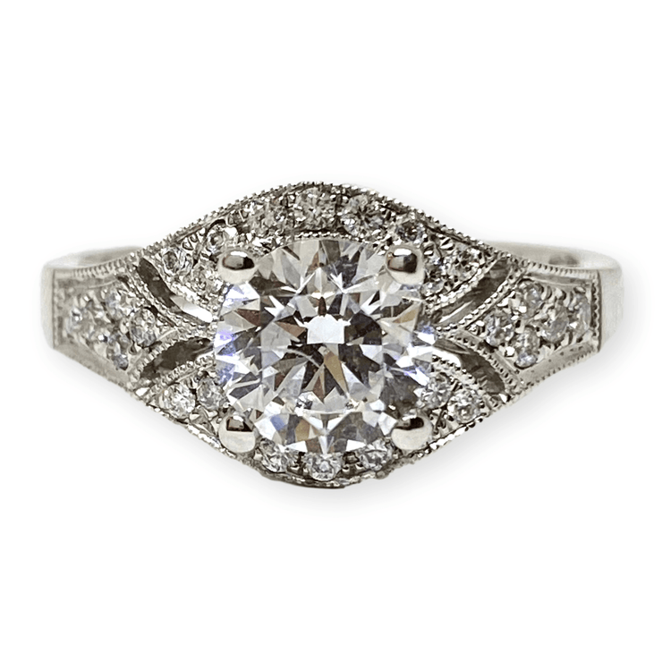 "Mark Areias Jewelers Jewellery & Watches DiaDori Round Diamond Pave ""Antique Style"" Engagement Semi Mounting 18KW .28CTW"