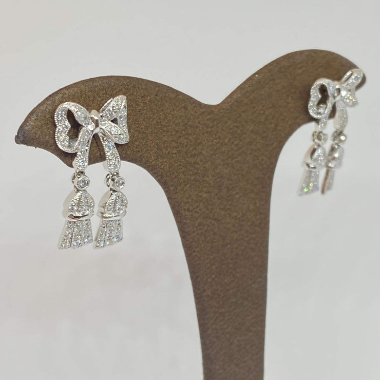 Mark Areias Jewelers Jewellery & Watches Diamond Pave Bow Tassel Dangle Drop Post Earrings 18K White Gold .33CTW