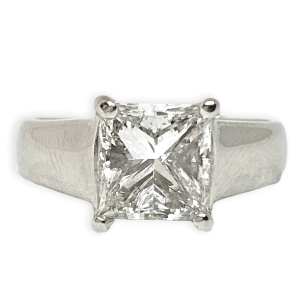 Mark Areias Jewelers Jewellery & Watches Diamond Princess Cut Cathedral Solitaire Engagement Wedding Ring 2CT Platinum