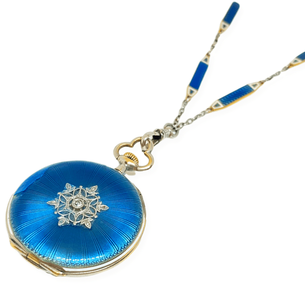 Mark Areias Jewelers Jewellery & Watches E. Gubelin Watch Pendant Platinum & 18KY Blue Guilloche Filigree Diamond 28mm