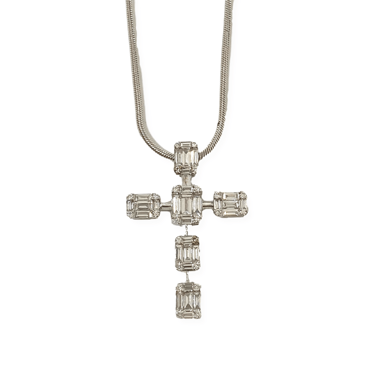 Mark Areias Jewelers Jewellery & Watches Emerald Cut Illusion Diamond Cross Pendant 14K White Gold .55 CTW