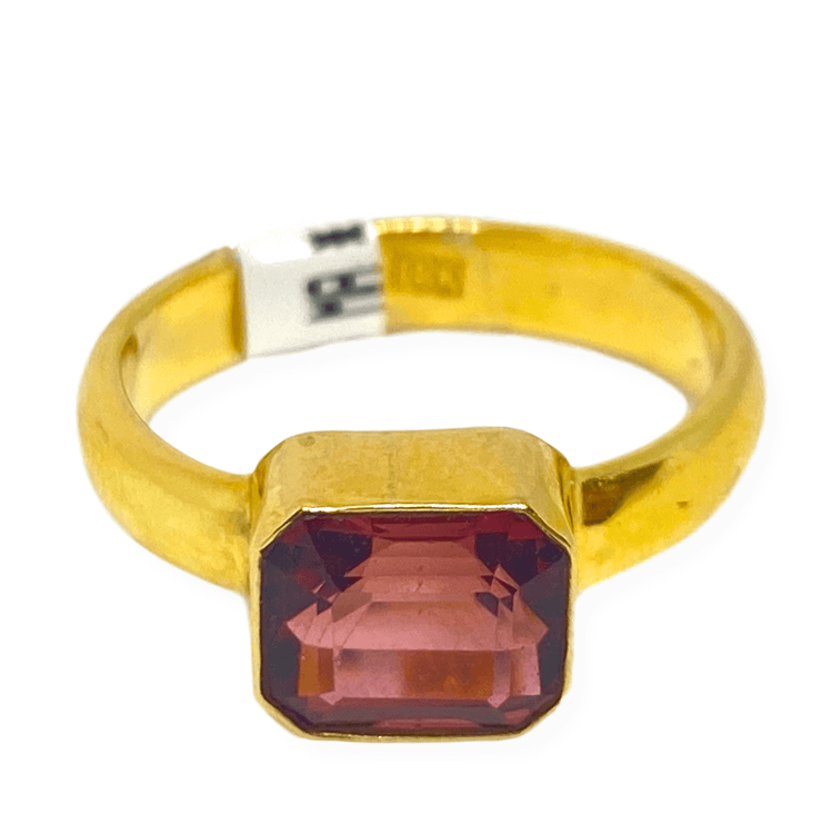 Mark Areias Jewelers Jewellery & Watches Emerald Cut Pink Tourmaline Bezel Set Solitaire Ring 18K Yellow Gold