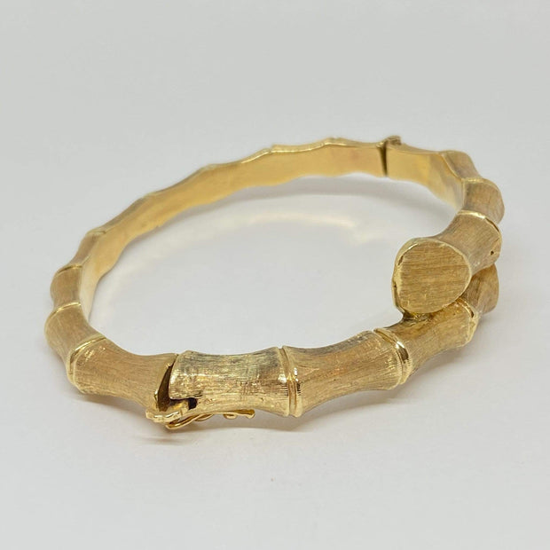 Mark Areias Jewelers Jewellery & Watches Estate Bamboo Textured Bypass Bangle 14K Yellow Gold