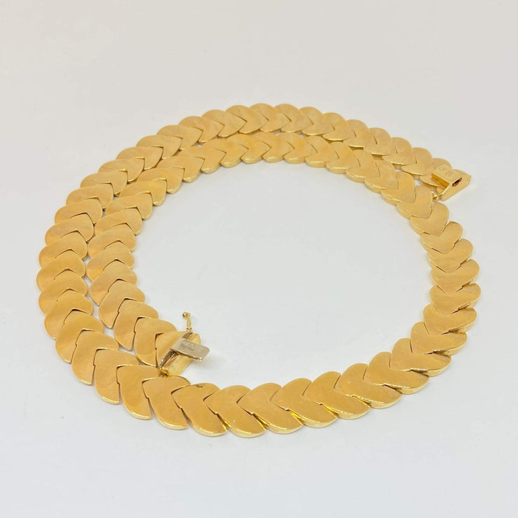 "Mark Areias Jewelers Jewellery & Watches Estate Collar Leaf ""V"" Chevron Chain Necklace 14K Yellow 18"" 12mm 47.98 Grams!"
