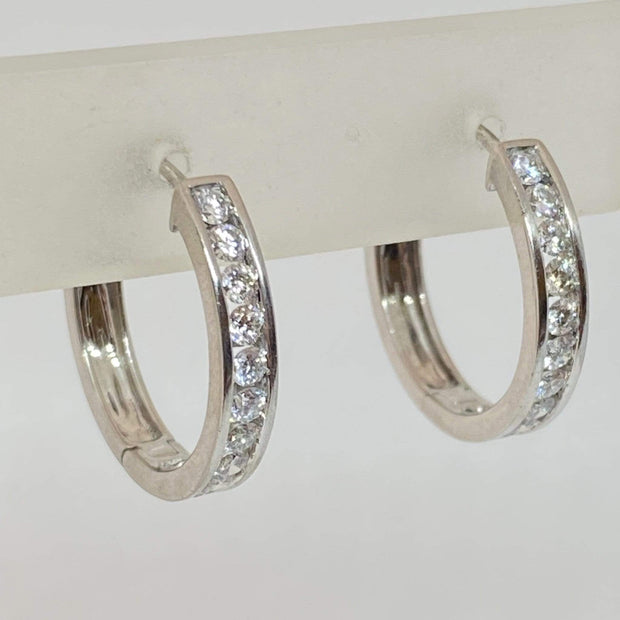Mark Areias Jewelers Jewellery & Watches Estate Diamond Channel Set 14K White Gold Hoop Earrings 1.00ctw 20mm