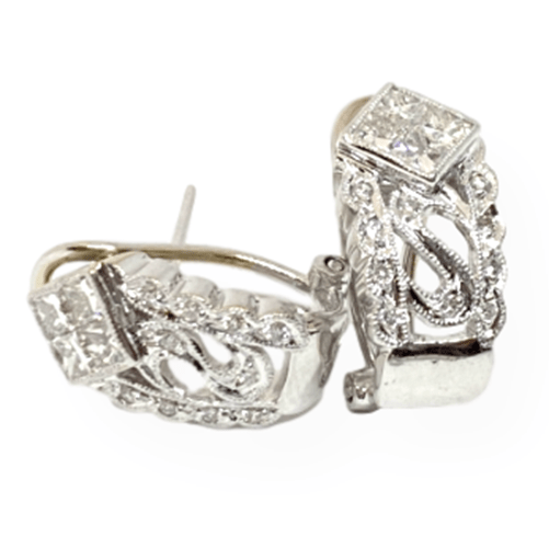Mark Areias Jewelers Jewellery & Watches Estate Diamond Omega French Clip Huggie Earrings 14K White Gold 1CTW