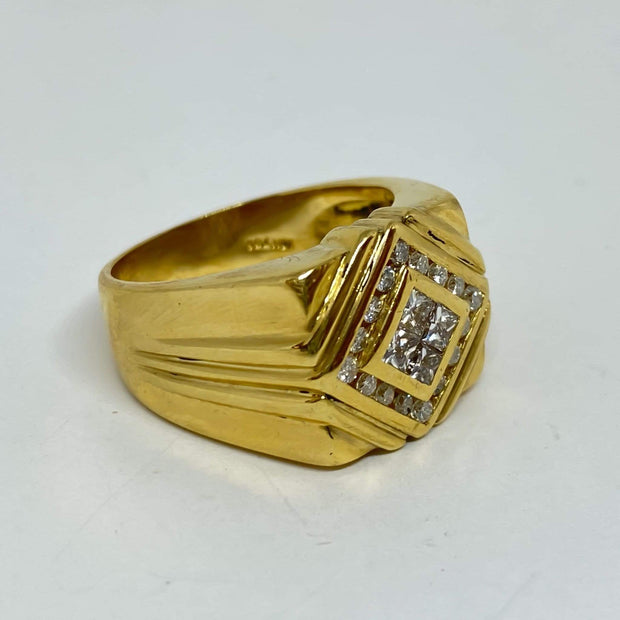 Mark Areias Jewelers Jewellery & Watches Estate Men's Wide Channel Set Diamond Square Ring Band 1.28ctw 18K Yellow Gold