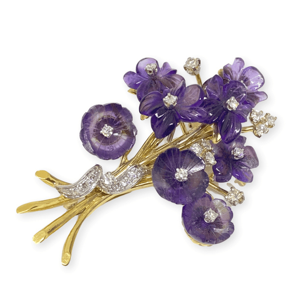 Mark Areias Jewelers Jewellery & Watches Estate Natural Amethyst & Diamond Flower Bouquet Brooch Pin 18KY