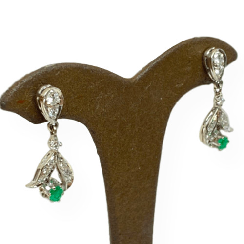 Mark Areias Jewelers Jewellery & Watches Estate Natural Emerald & Diamond Post Dangle Earrings 14K White Gold