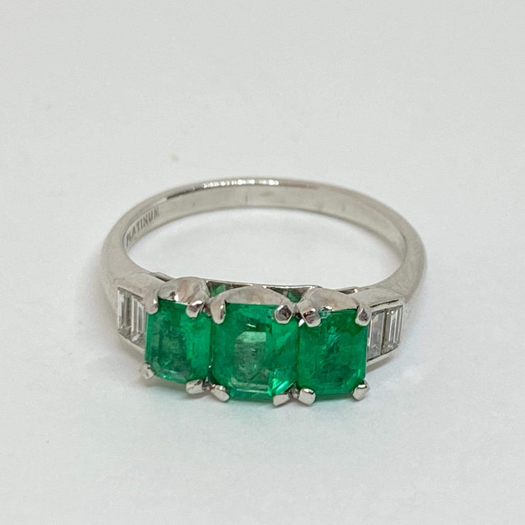 Mark Areias Jewelers Jewellery & Watches Estate Natural Emerald & Diamond Three Stone Platinum Ring 1CTW