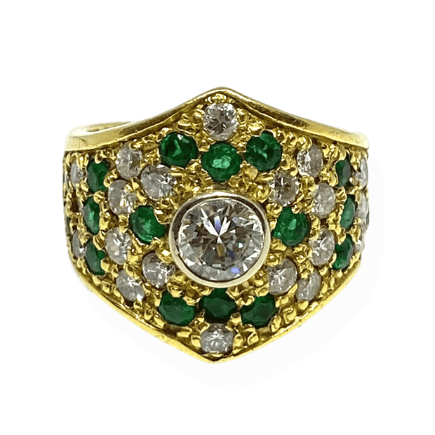 Mark Areias Jewelers Jewellery & Watches Estate Natural Emerald & Diamond Wide 18K Yellow Gold Ring