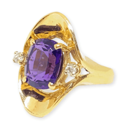 Mark Areias Jewelers Jewellery & Watches Estate Natural Fancy Cushion Amethyst & Diamond Freeform Ring 14K Yellow Gold