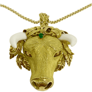 Mark Areias Jewelers Jewellery & Watches Estate Natural Ivory and Emerald Bull Pendant Brooch 18 Karat Yellow Gold