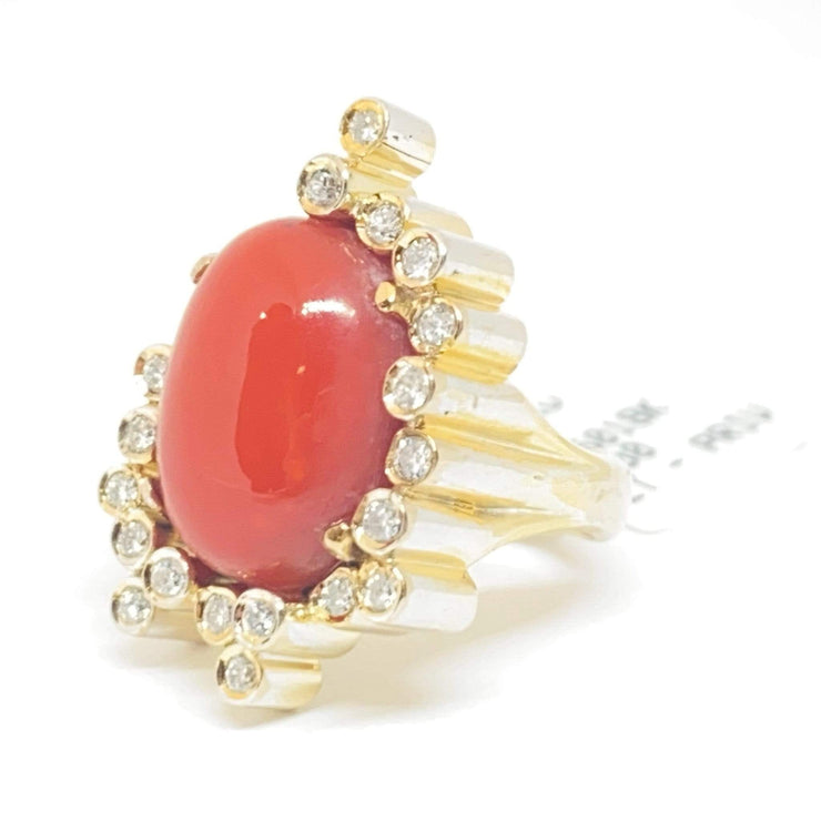 Mark Areias Jewelers Jewellery & Watches Estate Natural Oval Cabochon Italian Coral & Diamond Freeform Ring 18KY