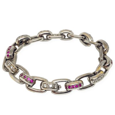 Mark Areias Jewelers Jewellery & Watches Estate Natural Pink Sapphire & Diamond Oval Square Link Bracelet 18K White Gold