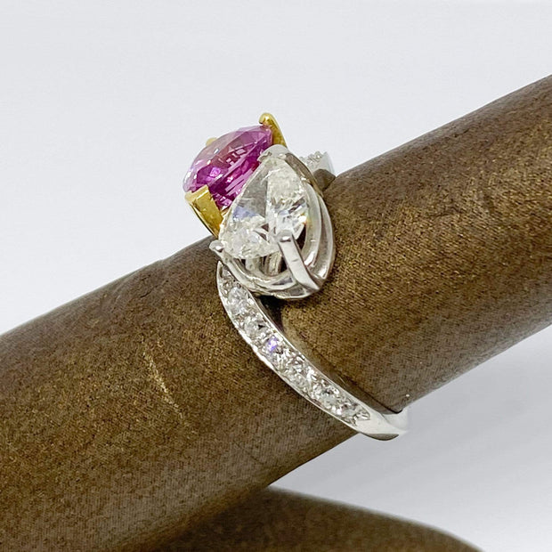 Mark Areias Jewelers Jewellery & Watches Estate Pear Shape Pink Sapphire & Diamond Bypass Ring in Platinum