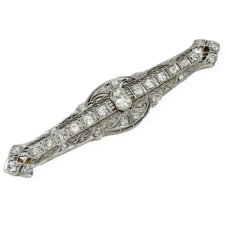 Mark Areias Jewelers Jewellery & Watches Estate Platinum and 14K Yellow Gold Diamond Brooch 2.57 CTW