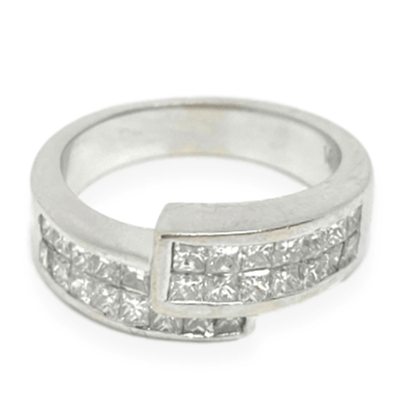 Mark Areias Jewelers Jewellery & Watches Estate Princess Cut Diamond Invisible Set Bypass Ring 18K White Gold 1.25CTW