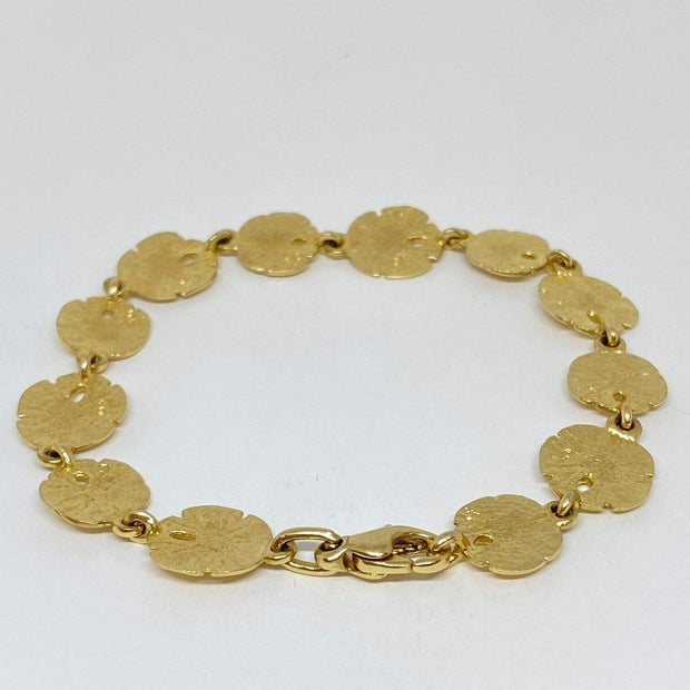 Mark Areias Jewelers Jewellery & Watches Estate Sand Dollar Link Bracelet 14K Yellow Gold 7 1/4""